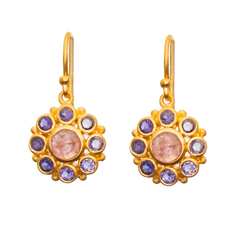 Pink Tourmaline & Iolite Flower Earrings