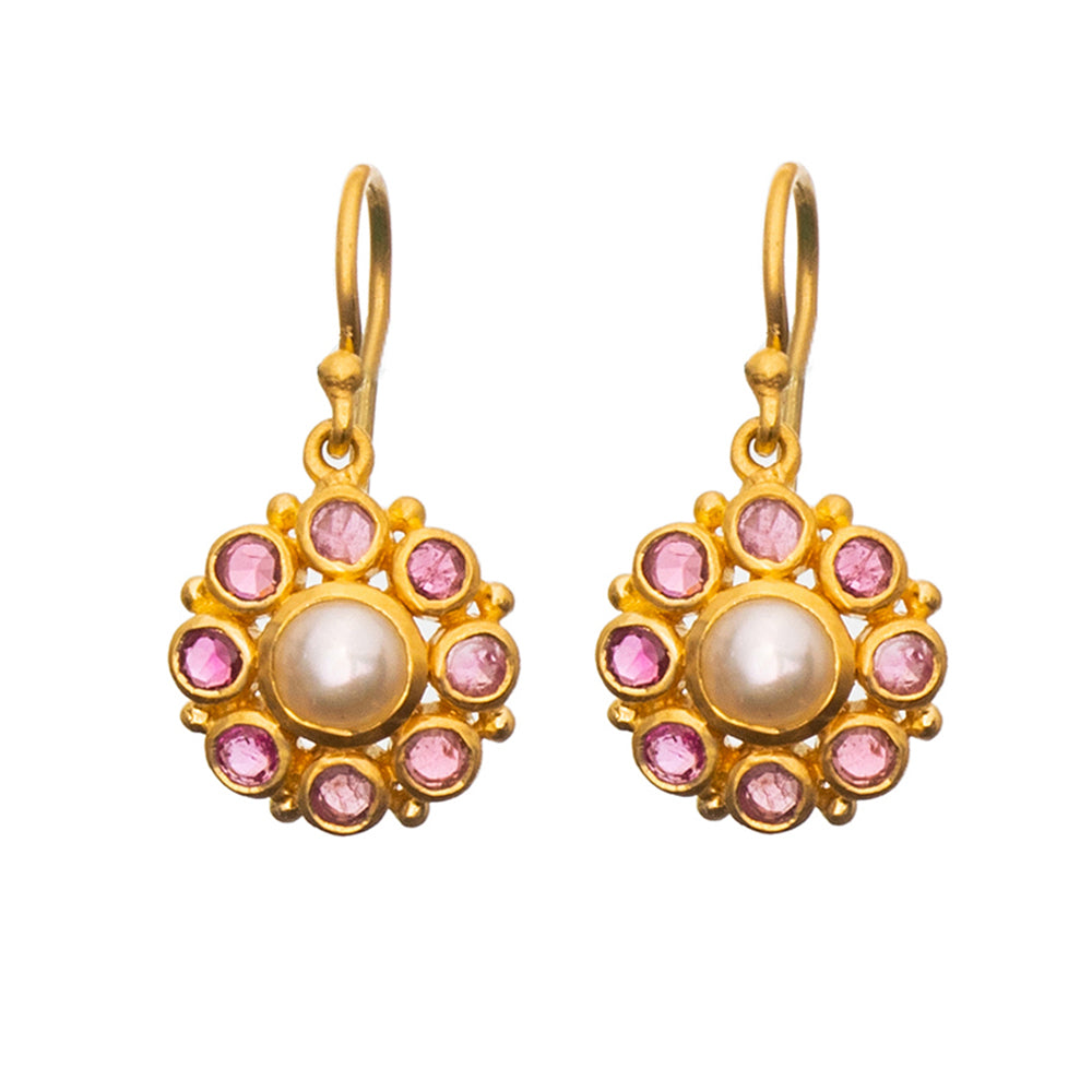 Pearl & Pink Tourmaline Flower Earrings