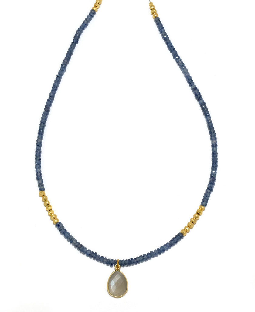 Faceted Blue Sapphire Necklace
