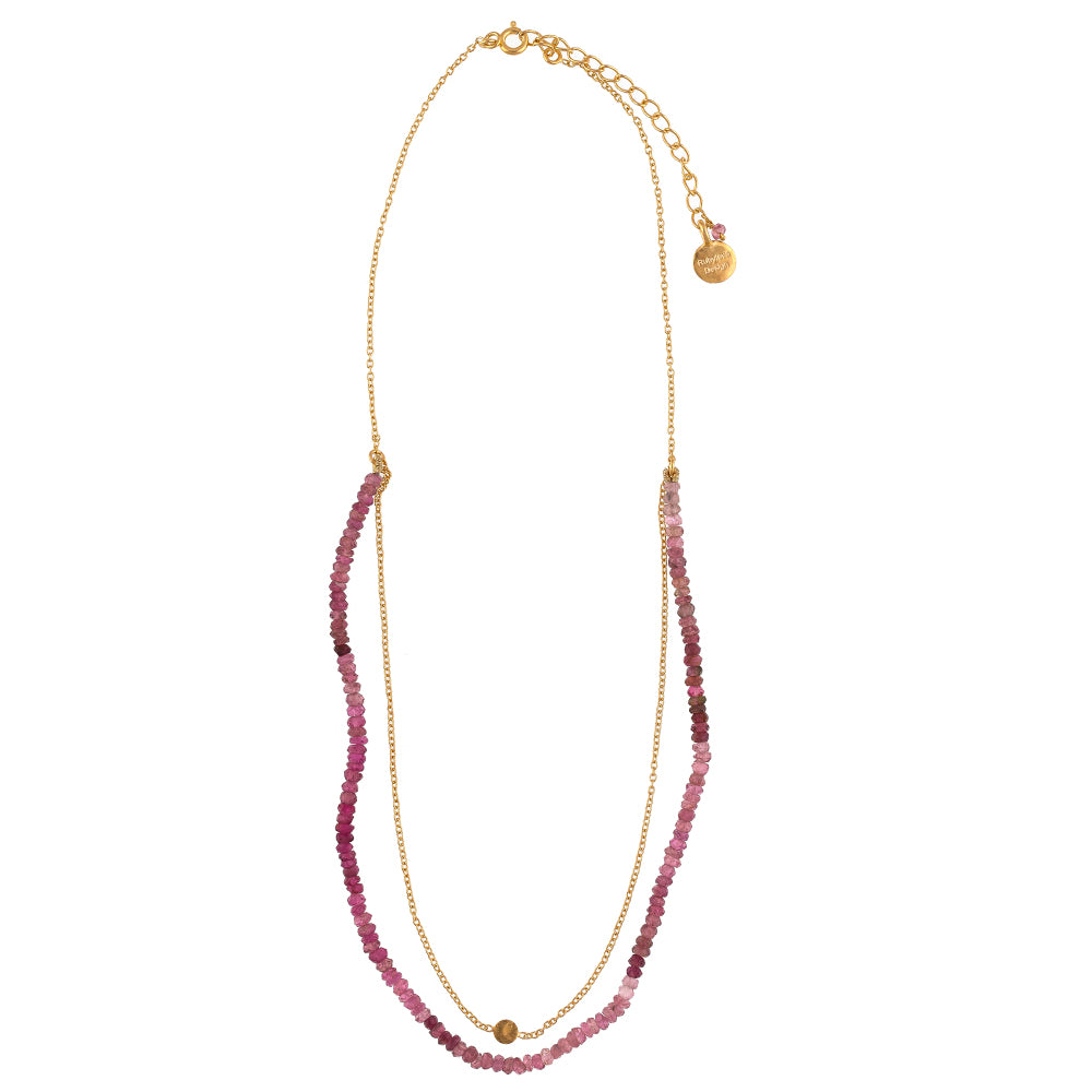 Pink Tourmaline Beaded Chain Necklace