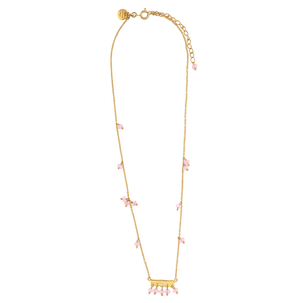 Pink Chalcedony Gold Plate Bar Necklace