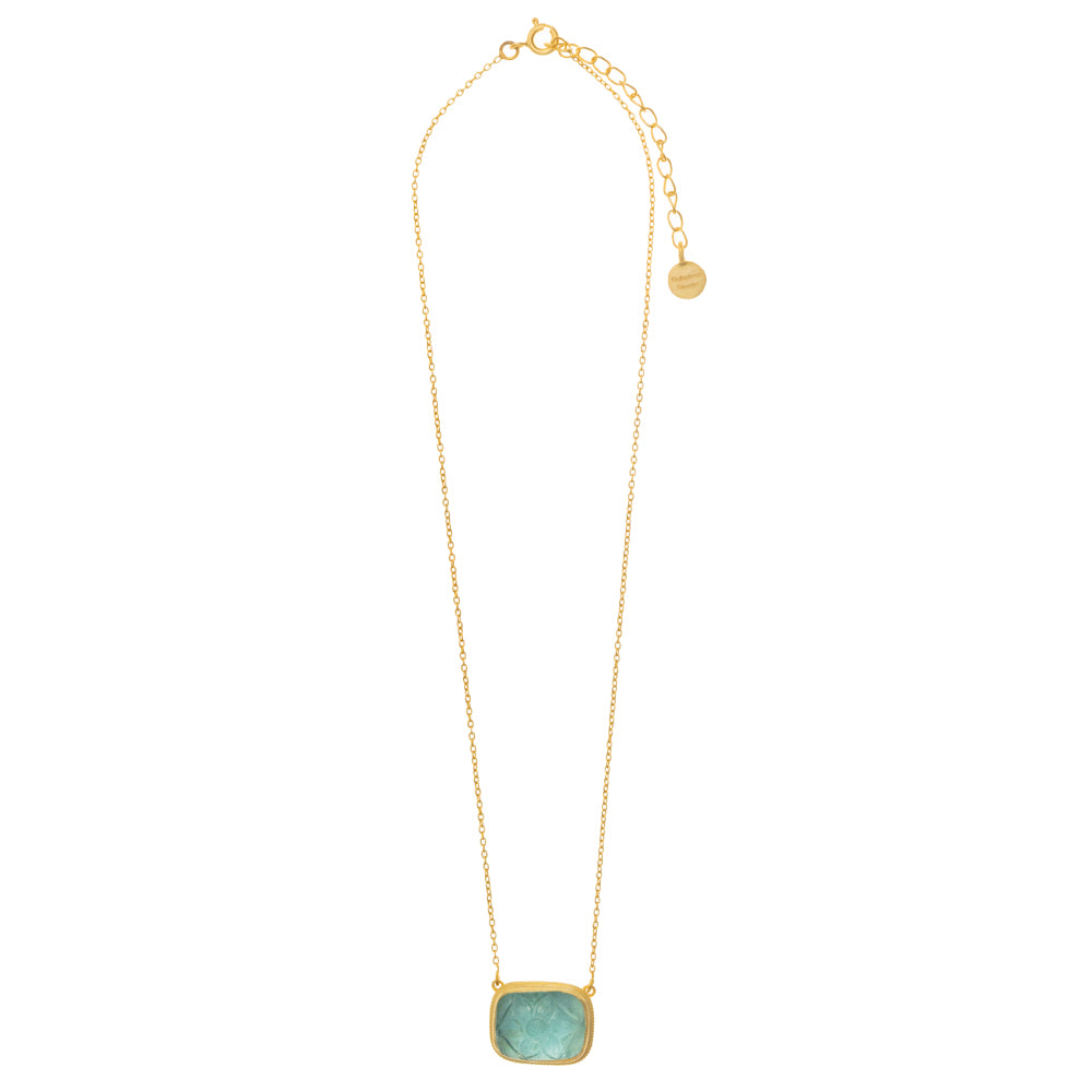 Blue Topaz Carved Glass Necklace - PRE ORDER