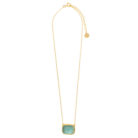 Blue Topaz Carved Glass Necklace