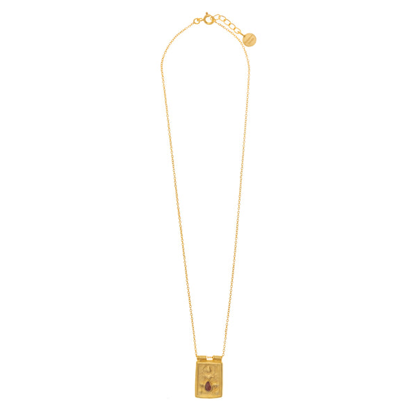 Gold Plate Pink Tourmaline goddess Necklace - SOLD OUT