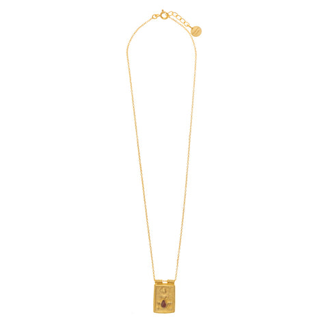 Gold Plate Pink Tourmaline goddess Necklace