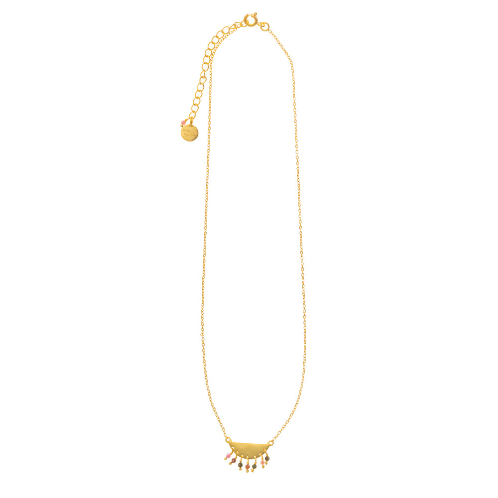 Gold plate half moon necklace with Multi Tourmaline