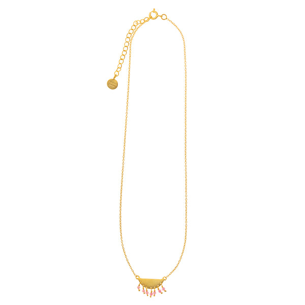 Gold plate half moon necklace with Pink Tourmaline