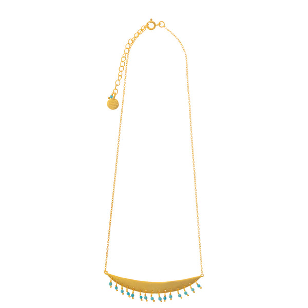 Gold plate Crescent necklace with Turquoise