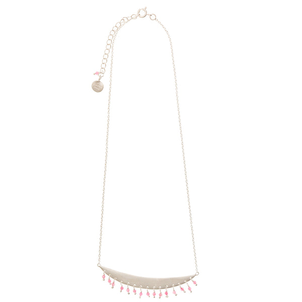 Gold plate Crescent necklace with Pink Tourmaline