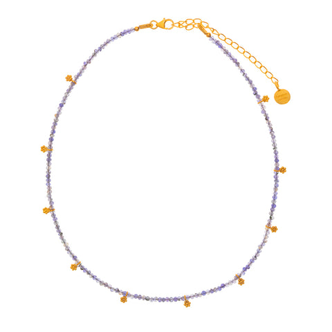 Iolite & gold charm beaded necklace