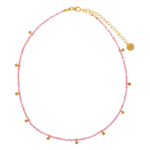 Pink Tourmaline & gold charm beaded necklace