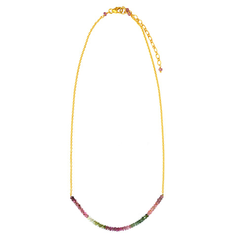 Beaded Multi Tourmaline chain necklace