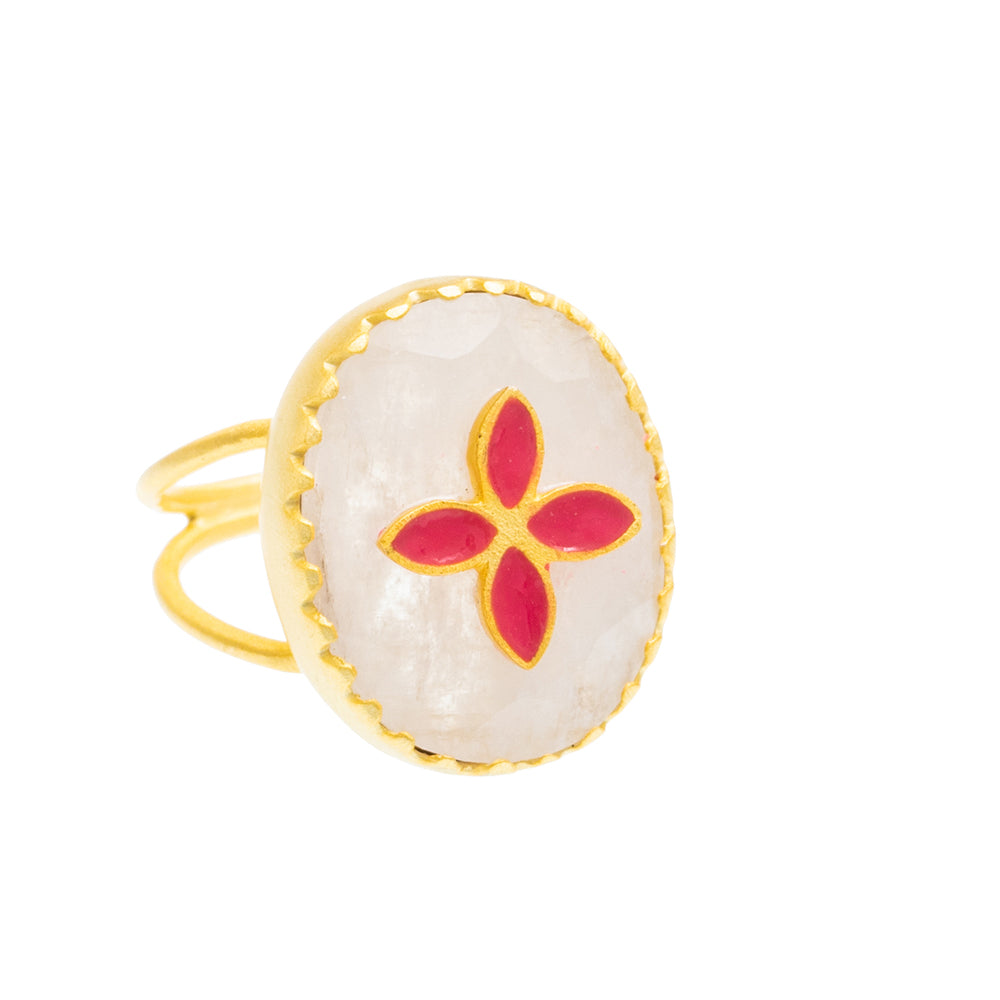 Moonstone enamel Gold plate Ring
