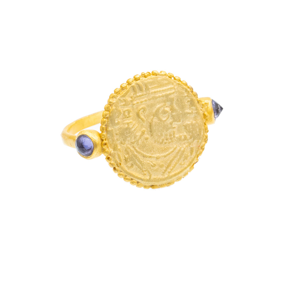Iolite Gold plate coin Ring