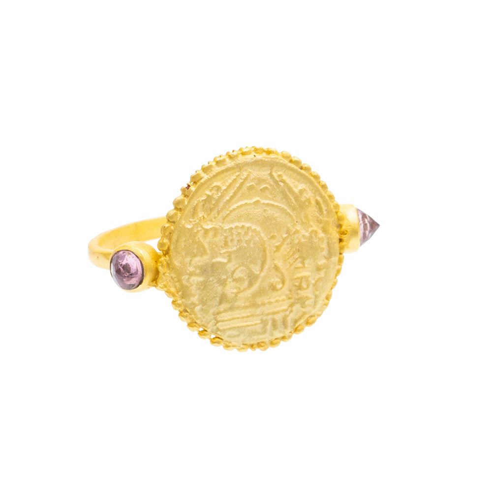 Pink Tourmaline Gold plate coin Ring