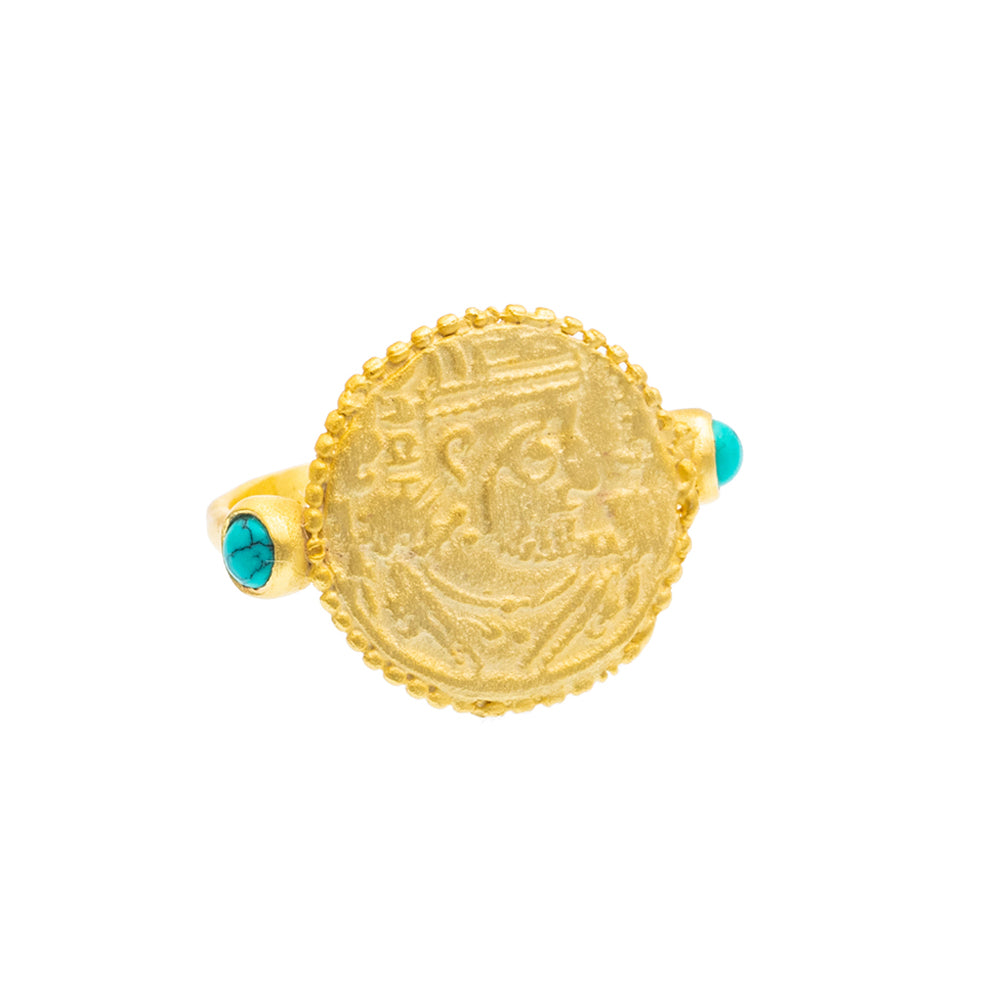 Turquoise Gold plate coin Ring