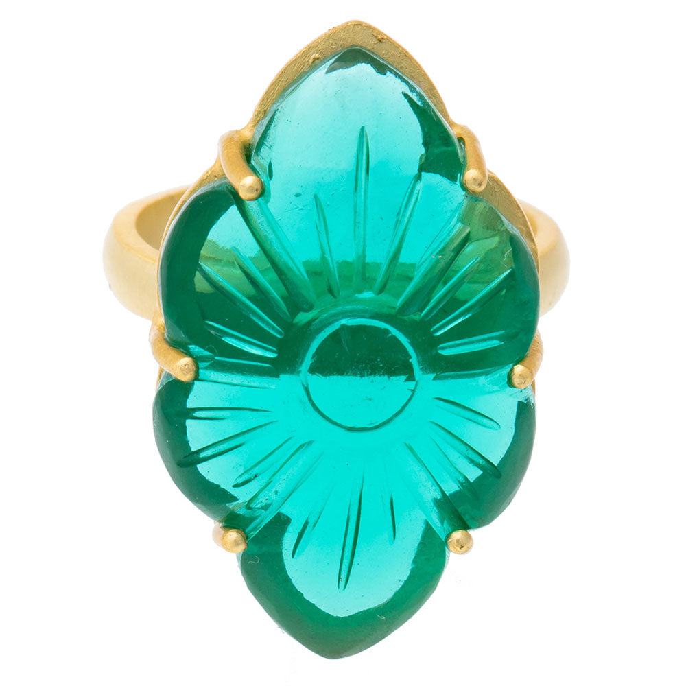 Carved flower Apatite glass ring