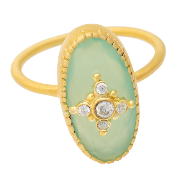 Green Chalcedony & Cubic Zirconia ring