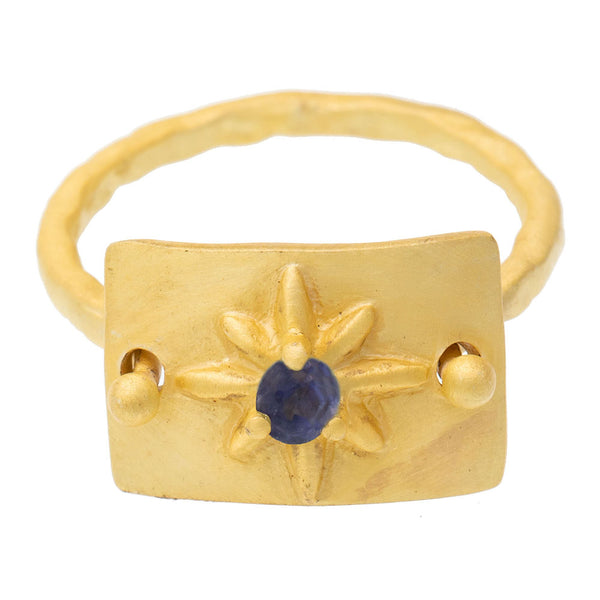 Iolite gold plate star ring - PRE ORDER