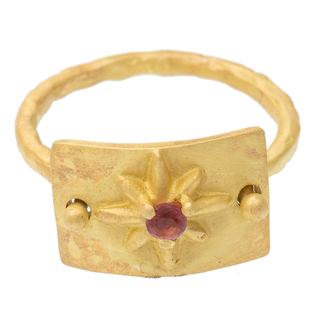 Pink Tourmaline gold plate star ring