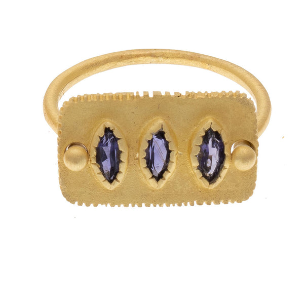 Faceted Iolite gold plate ring - PRE ORDER