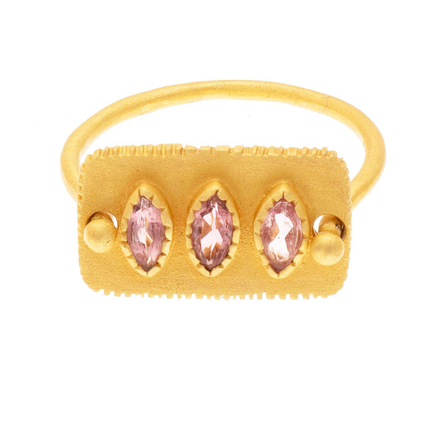 Faceted Pink Tourmaline gold plate ring - PRE ORDER