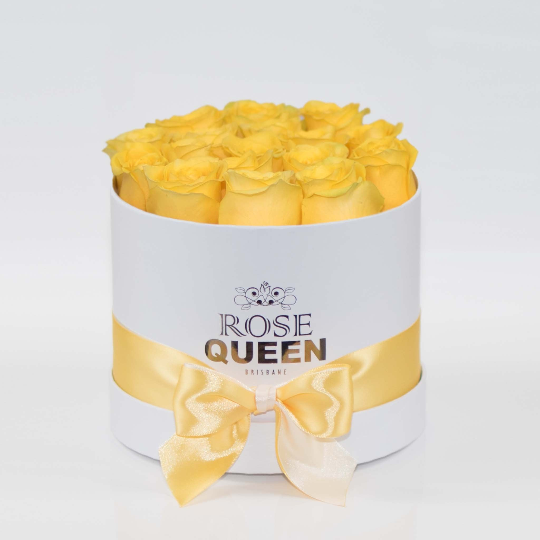 White Box - Yellow FRESH CUT Roses