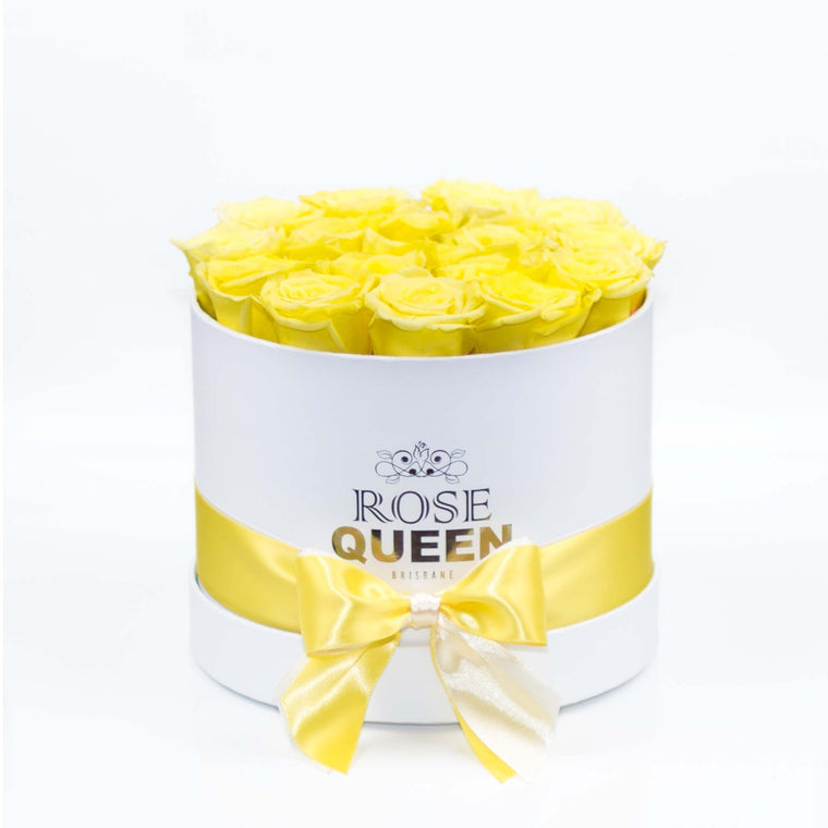 White Box - Yellow ETERNITY Roses