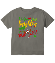 I Shine Brighter Than Rudolph Christmas Toddler T-Shirt