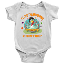 Funny Turkey I Love Thanksgiving With My Family Baby Onesie