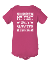My First Ugly Sweater! Funny Ugly Christmas Sweater Baby Onesie