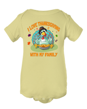 I Love Thanksgiving With My Family Funny Turkey Baby Onesie