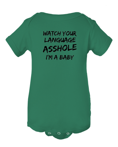 Watch Your Language I'm A Baby Funny Baby Onesie Bodysuit