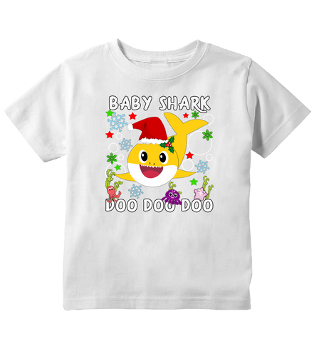Baby Shark Doo Doo Doo Cute Christmas Shark Toddler T-Shirt