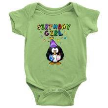 Birthday Girl Colorful Penguin Baby Onesie