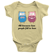 All Because Two People Fell In Love Cute Owl Baby Bodysuit