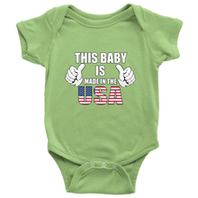 This Baby Is Made In The USA U.S Flag 4th of July American Baby Bodysuit