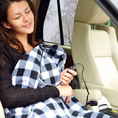 Super Soft Plaid Fleece Heated Blanket For The Car--Heated Car Accessories - FreshShade