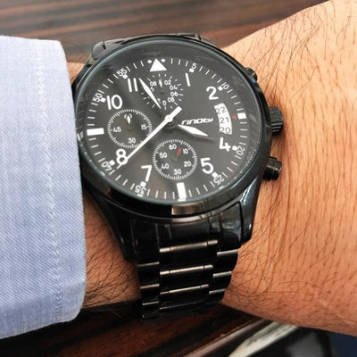 Men's Stainless Steel Military Style Sports Chronograph - FreshShade