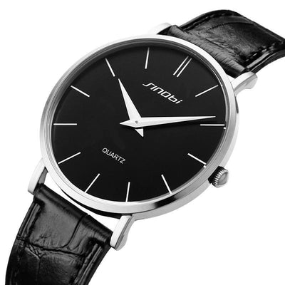 Ultra Thin Two-Hand Quartz Watch w/ Leather Band - Fresh Shade