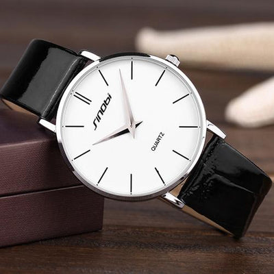 Ultra Thin Two-Hand Quartz Watch w/ Leather Band - FreshShade