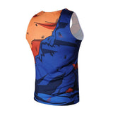 Dragon Orange and Blue Ravaged Workout Tank - Superhero Gym Gear