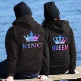 Queen and King Hoodies Lovers Couple Sweatshirt for Women and Men