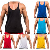 1 pc 7 Colors M-XXL New 2017 Fitness Men's Undershirt Vest O Neck Stringer Bodybuilding Tank tops Free Shipping Wholesale - Superhero Gym Gear
