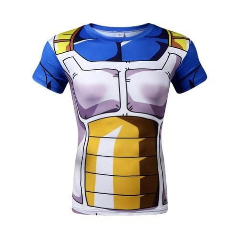 Dragon Ball Z Vegeta Saiyan Armor Compression Shirt Short Sleeve - Superhero Gym Gear