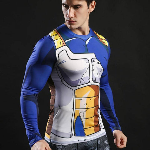 Dragon Ball Z Vegeta Battle Torn Armor Compression Shirt Long Sleeve - Superhero Gym Gear