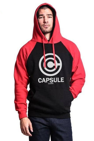 Capsule Corp Saiyan Hoodie Black and Red - Superhero Gym Gear
