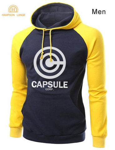 Capsule Saiyan Hoodie Black and Yellow - Superhero Gym Gear