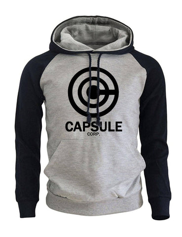 Capsule Corp Saiyan Hoodie Grey and Dark Blue - Superhero Gym Gear
