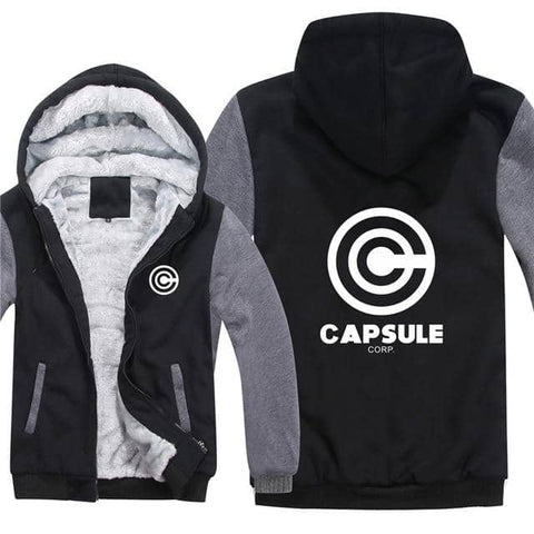 Capsule Thick Winter Hoodie Front and Back Logo Black and Gray - FitKing